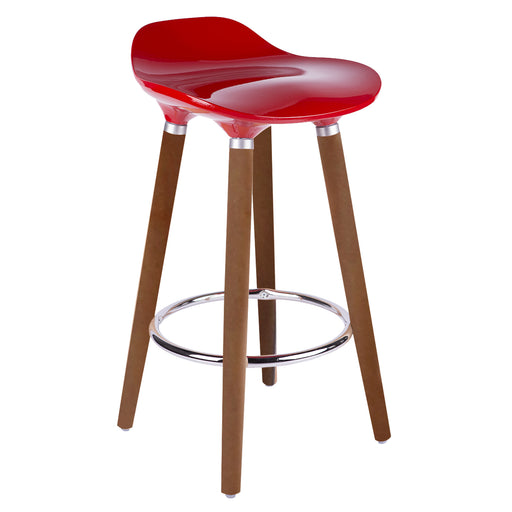 "Vienna 26"" Red ABS Counter Stool with Walnut Wooden Legs - 1 Unit"