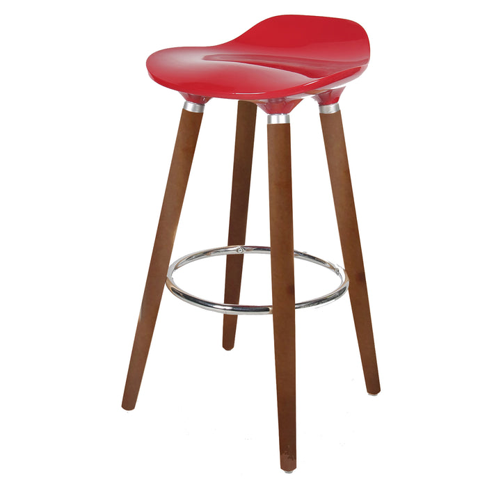 "Vienna 30"" Red ABS Bar Stool with Walnut Wooden Legs - 1 Unit"