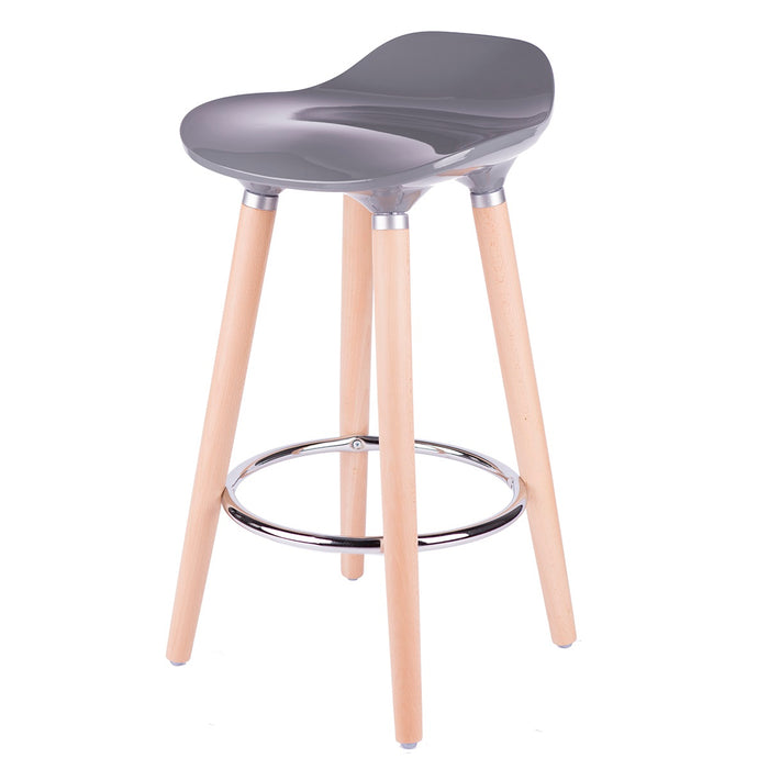 "Vienna 26"" Grey ABS Counter Stool with Natural Wooden Legs - Set of 2"