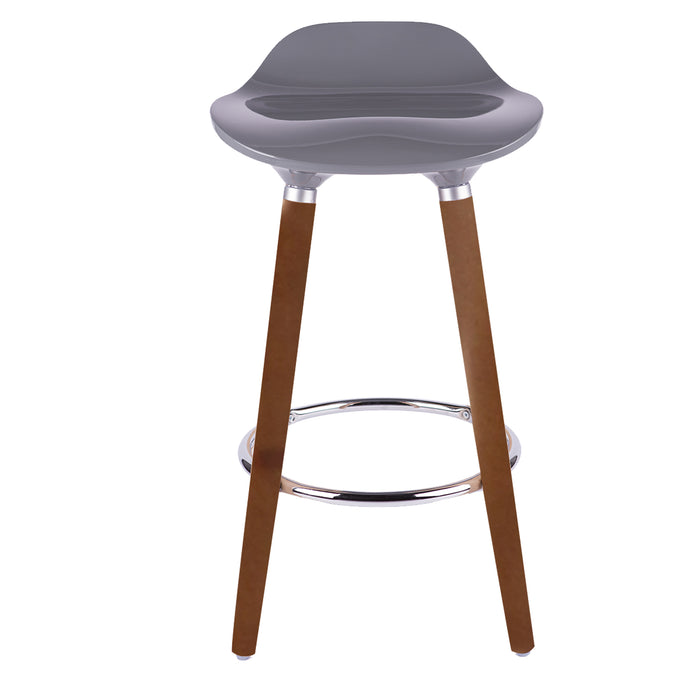 "Vienna 30"" Grey ABS Bar Stool with Walnut Wooden Legs - 1 Unit"