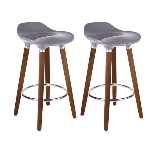 "Vienna 30"" Grey ABS Bar Stool with Walnut Wooden Legs - Set of 2"