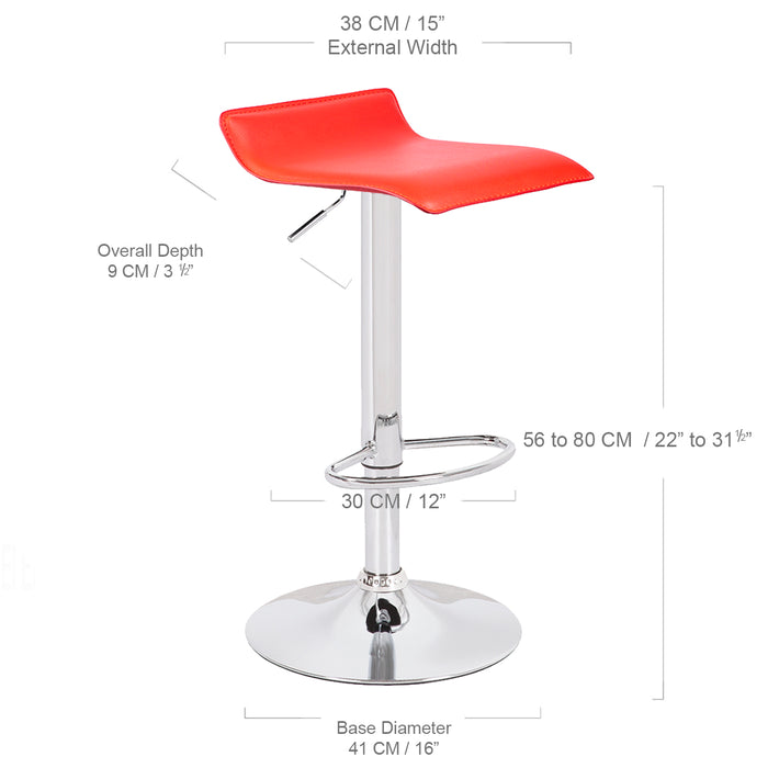 Miranda Swivel Adjustable Height Bar Stool (Red)