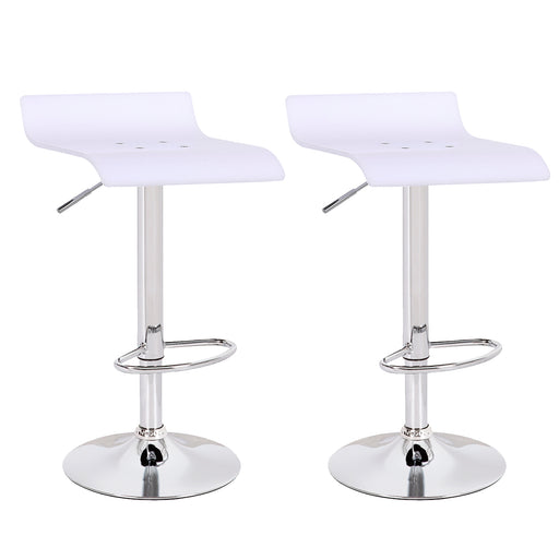 Rachel Acrylic Swivel Adjustable Height Bar Stool (White) - Set of 2