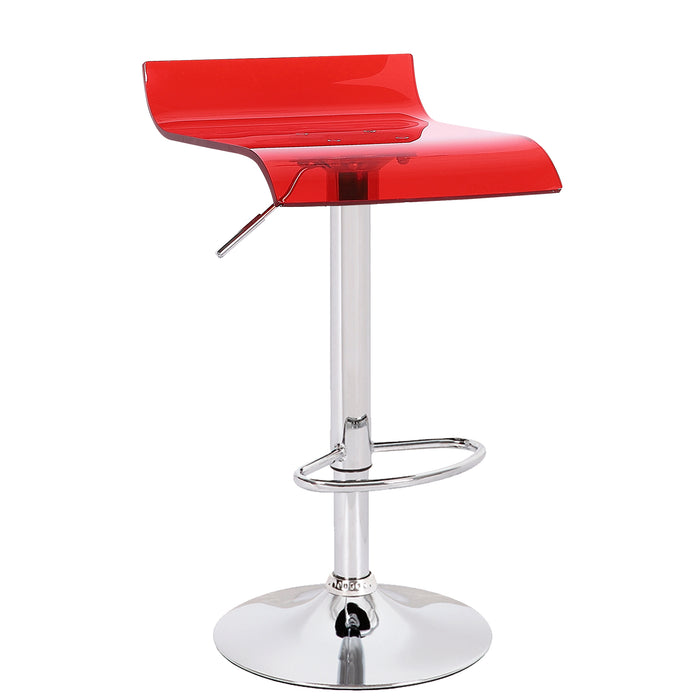 Rachel Acrylic Swivel Adjustable Height Bar Stool (Red)