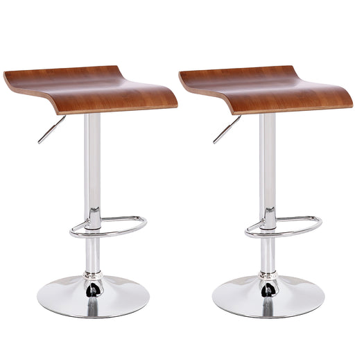 Susan Swivel Adjustable Height Bar Stool with Wooden Seat - Set of 2
