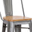 "Maverick Metal Bar Stool 30"" (Polished) with Wood Seat"