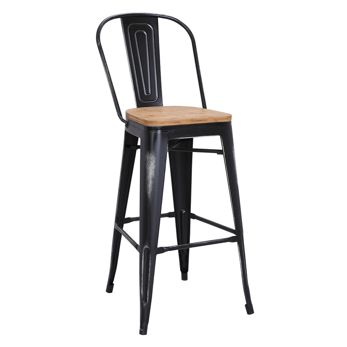 "Maverick Metal Bar Stool 30"" (Distressed Black) with Wood Seat"