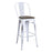"Maverick Metal Bar Stool 30"" (Distressed White) with Wood Seat"