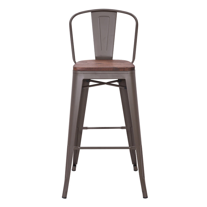 "Burton Metal Bar Stool with Dark Walnut Wood Seat 30"" (Antique Espresso Legs)"
