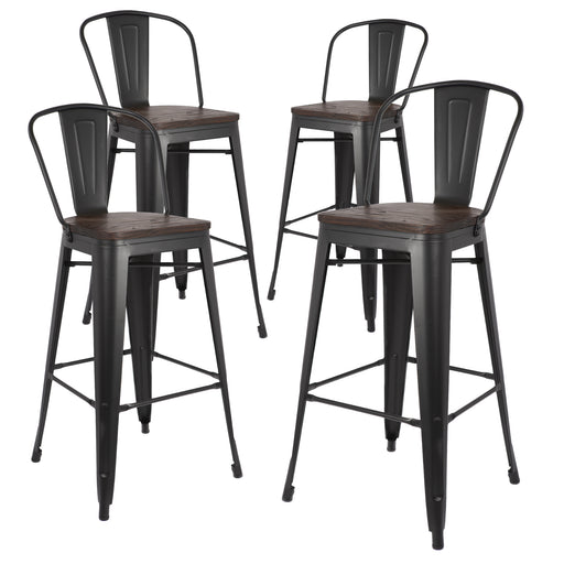 "Burton 30"" Metal Bar Stool with Wooden Seat (Matte Black) - Set of 4"