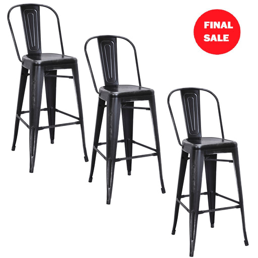 "FINAL SALE Portland 30"" Metal Bar Stools (Distressed Black) - Set of 3"