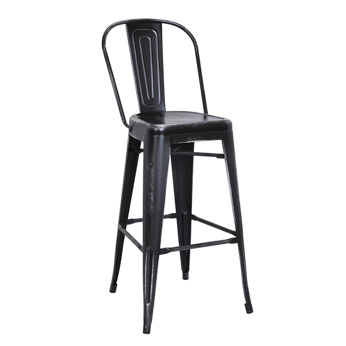 "Portland Metal Bar Stool 30"" (Distressed Black)"