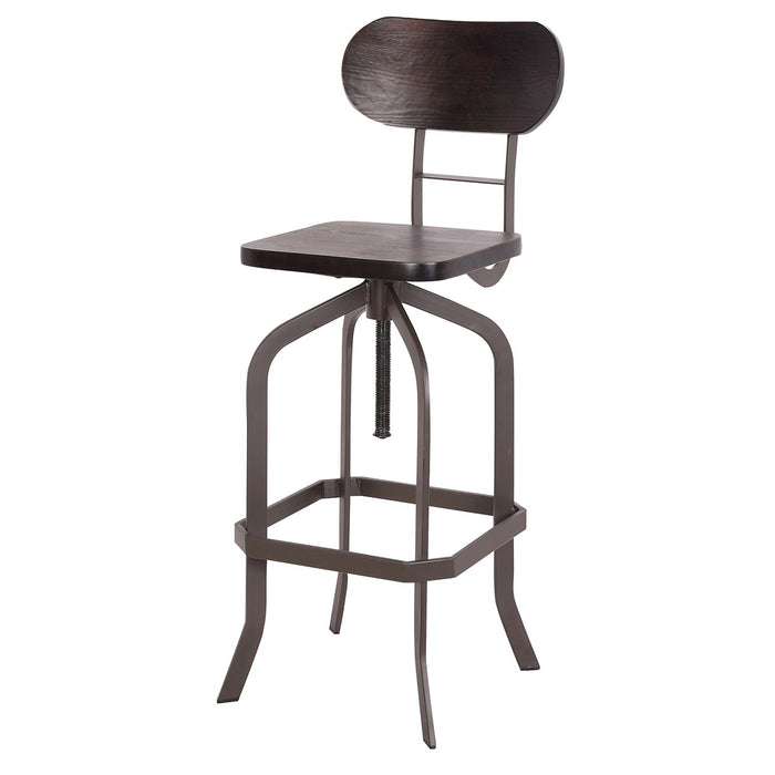 Clarkson Metal Swivel Adjustable Bar Stool with Dark Bentwood - 1 Unit