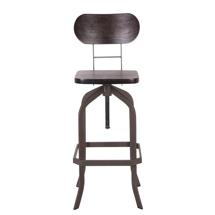 Clarkson Metal Swivel Adjustable Bar Stool with Dark Bentwood