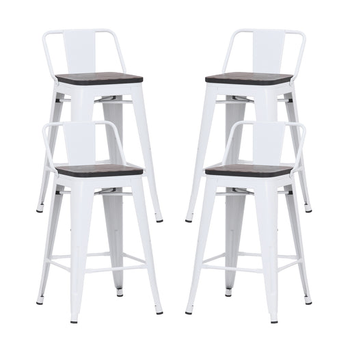 "Eddison 24"" Metal Counter Stool with Wooden Seat (Glossy White) - Set of 4"