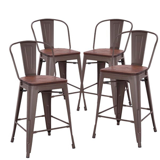 "Burton 24"" Metal Counter Stool with Wooden Seat (Antique Espresso Legs) - Set of 4"