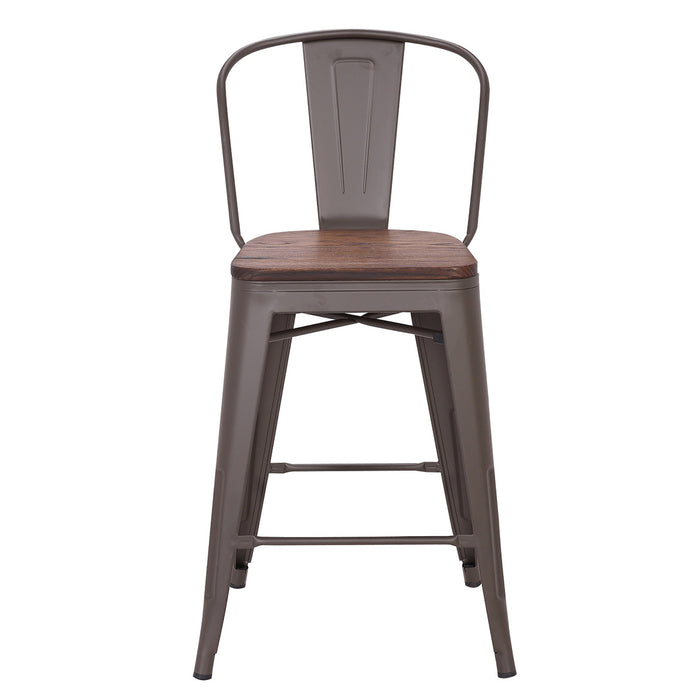 Burton Metal Counter Stool with Dark Walnut Wood Seat 24""