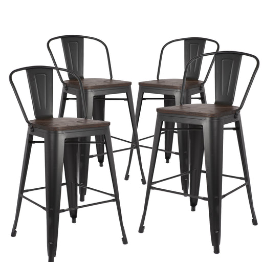 "Burton 24"" Metal Counter Stool with Wooden Seat (Matte Black Legs) - Set of 4"