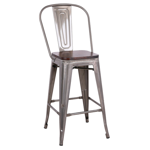 "Louis Metal Counter Stool 26"" Galvanized Polished Gun Metal"