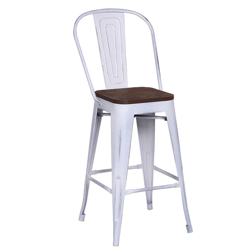 "Metal Counter Stool 26"" (Distressed White)"