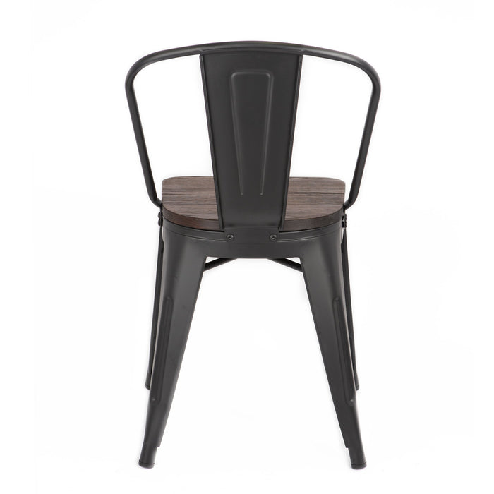 Burton Metal Chair in Matte Black Finish with Wood Seat 18""