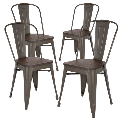 Robert Metal Dining Chair with Wooden Seat (Antique Espresso Legs) - Set of 4