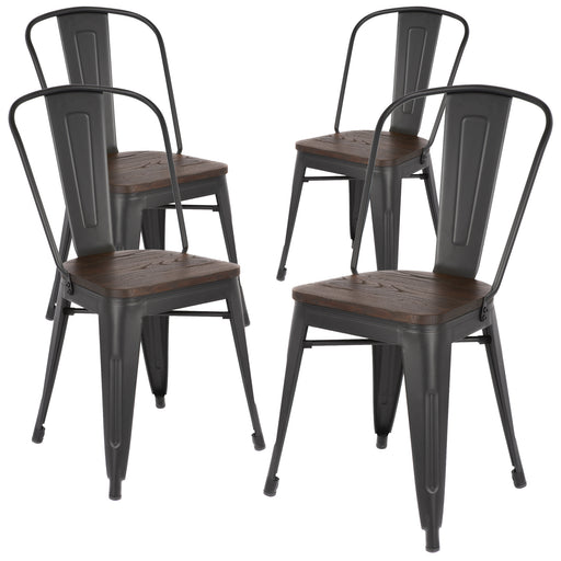 Robert Metal Dining Chair with Wooden Seat (Matte Black Legs) - Set of 4