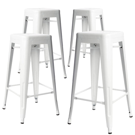 "Nixxon 30"" Metal Bar Stools Backless Tolix Style - White - Set of 4"