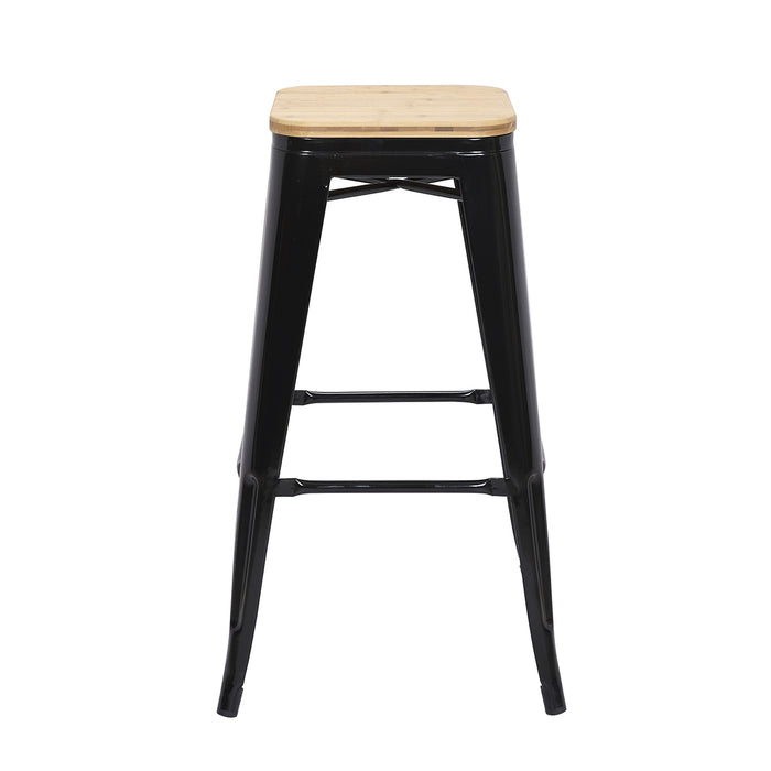 "Falcon Metal Bar Stool 30"" (Black) with Wood Seat"