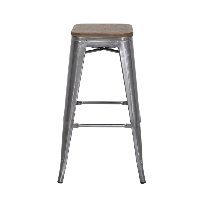 "Falcon Metal Bar Stool 30"" (Raw Metal) with Wood Seat"