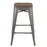 "Falcon 30"" Metal Bar Stools Backless Tolix Style - Gunmetal with Dark Elm Wood Seat - Set of 4"