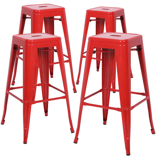 "Nixxon 30"" Metal Bar Stools Backless Tolix Style - Red - Set of 4"