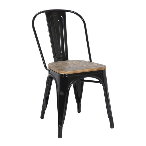 Burton Metal Chair (Black) with Zebra Wood Seat 18""