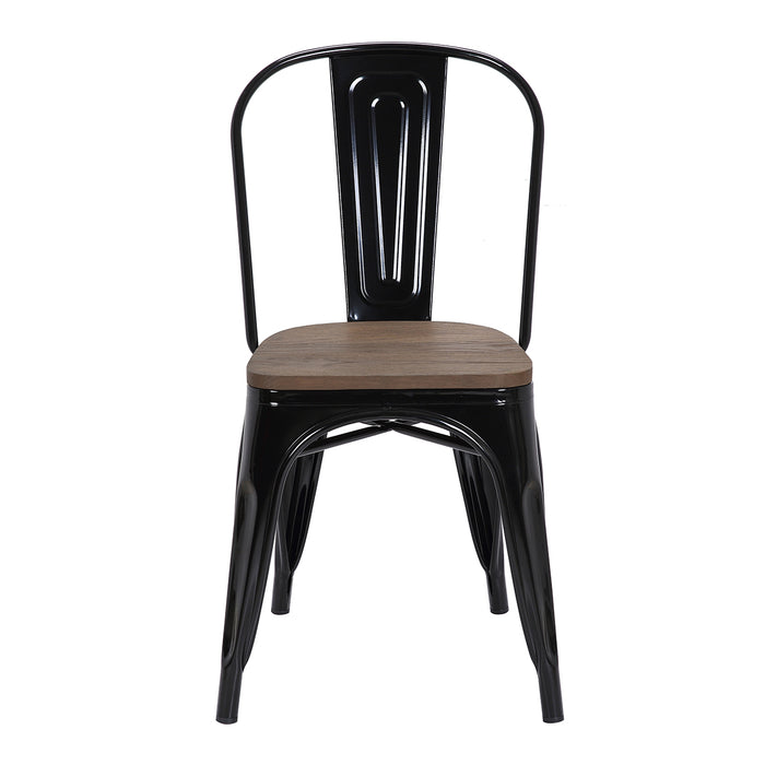 Burton Metal Chair (Black) with Dark Elm Wood Seat 18""
