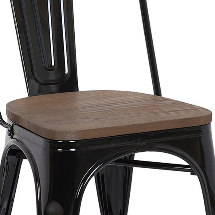 Burton Metal Dining Chairs Tolix Style with High Backrest - Black with Dark Elm Wood Seat - Set of 4