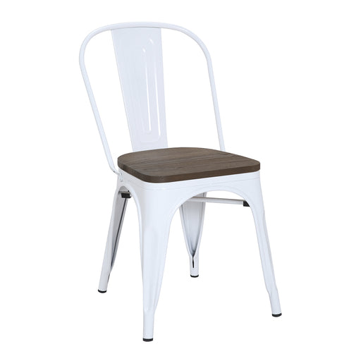 Burton Metal Chair (White) with Dark Elm Wood Seat 18""