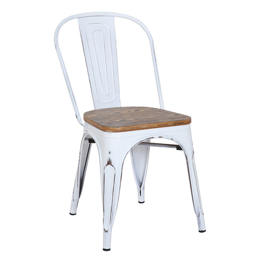 Burton Metal Chair (Distressed White) with Zebra Wood Seat 18""