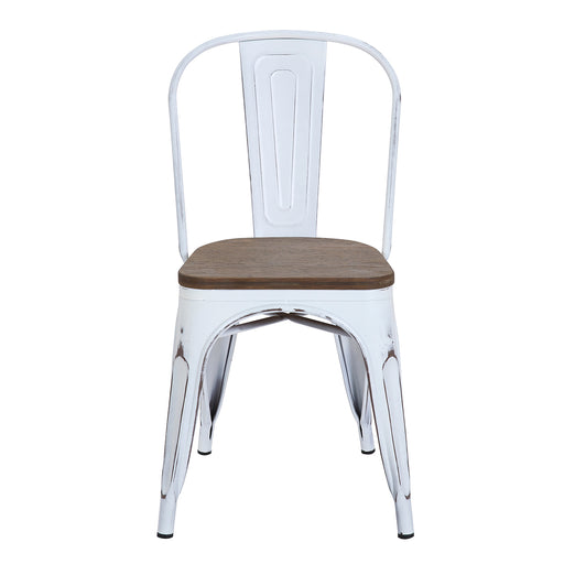 Burton Metal Chair (Distressed White) with Dark Wood Seat 18""