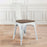 Burton Metal Chair (Distressed White) with Dark Elm Wood Seat 18""