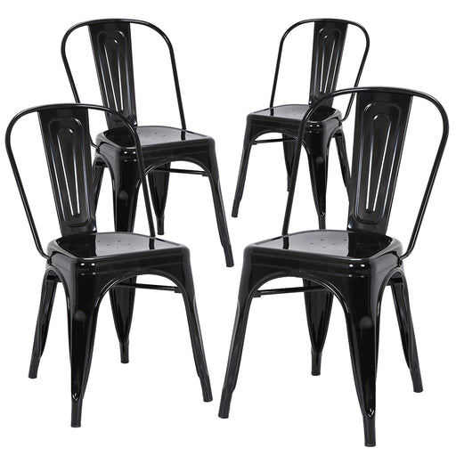 Colin Metal Dining Chairs Tolix Style with High Backrest - Glossy Black - Set of 4