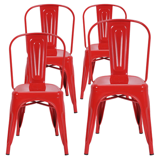 Colin Metal Dining Chairs Tolix Style with High Backrest - Red - Set of 4