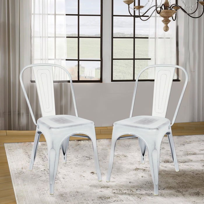 Colin Metal Chair (Distressed White) 18""