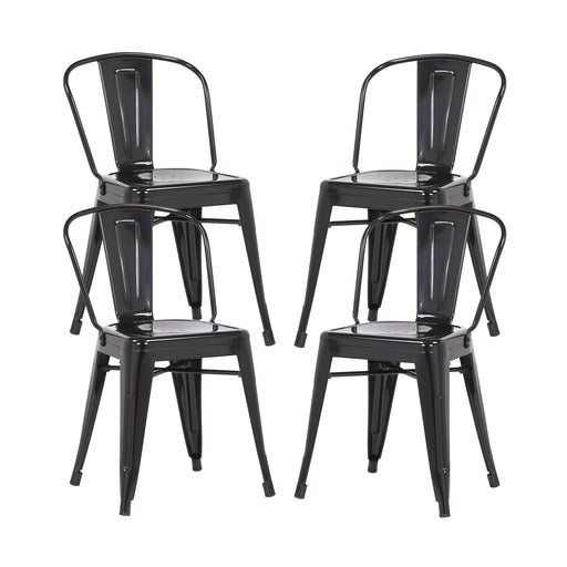 Caleb Metal Dining Chairs Tolix Style with Mid-Backrest - Glossy Black - Set of 4