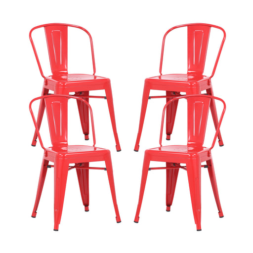 Caleb Metal Dining Chairs Tolix Style with Mid-Backrest - Red - Set of 4
