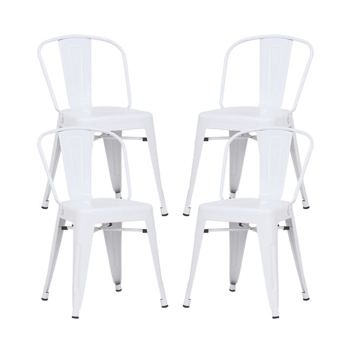 Caleb Metal Dining Chairs Tolix Style with Mid-Backrest - Glossy White - Set of 4