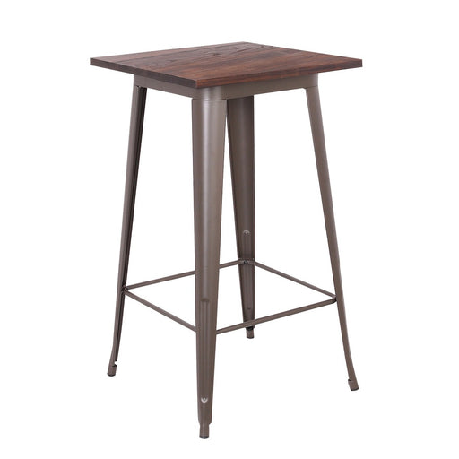 Farrah Metal Bar Table with Wooden Top and Antique Espresso Legs