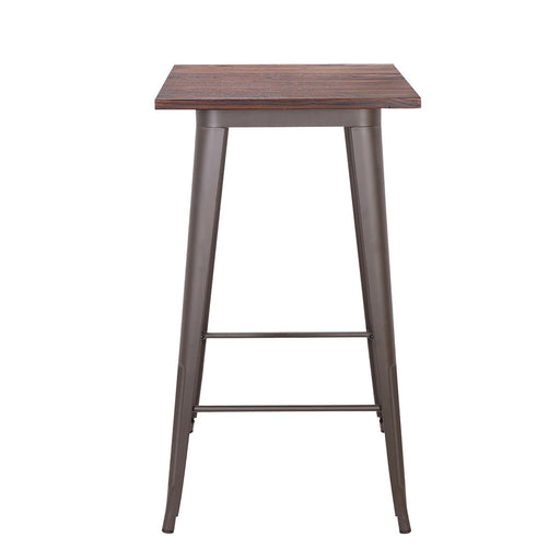 Farrah Industrial Metal Bar Table with Dark Walnut Elm Wood