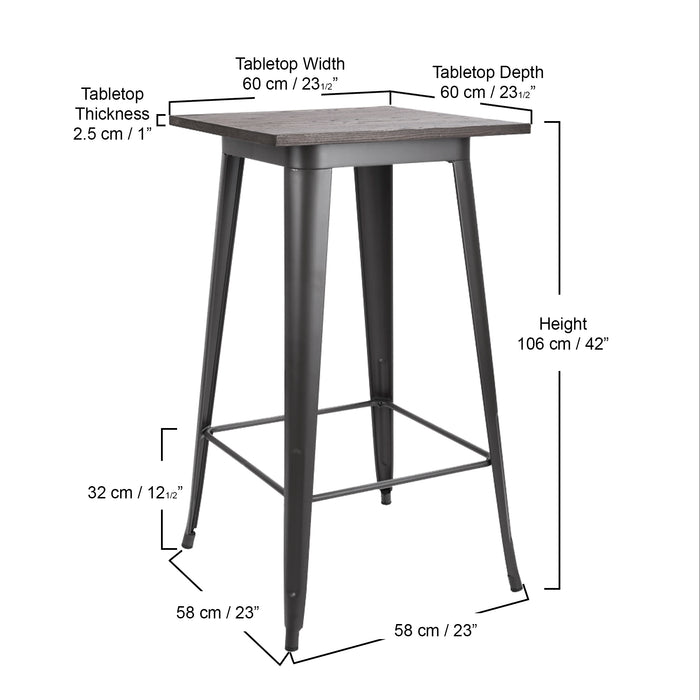 Farrah Metal Bar Table with Wooden Top and Matte Black Legs