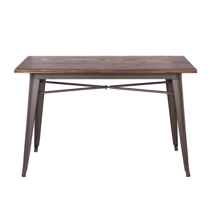 Forrest Industrial Dining Table with Dark Walnut Elm Wood