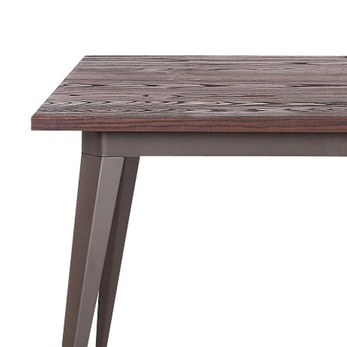 Crate Industrial Dining Table with Antique Dark Walnut Elm Wood